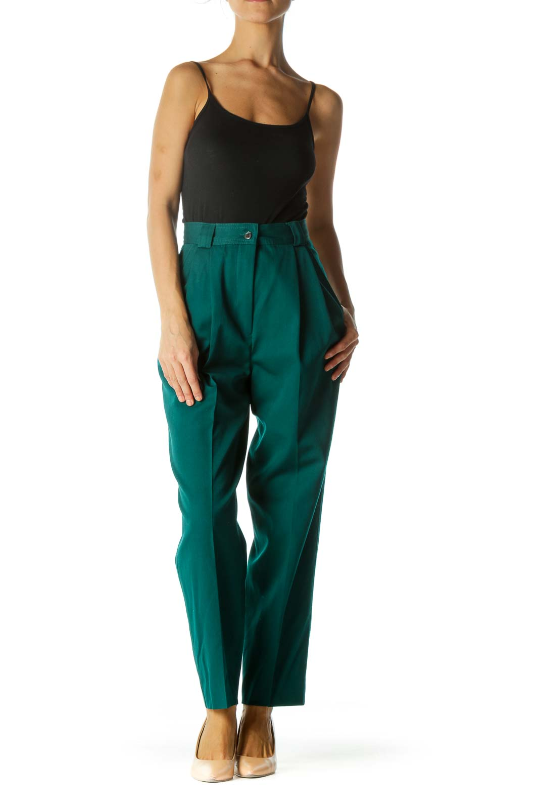 Emerald Green 100% Wool Pleated Pocketed Cinched Waist Pants
