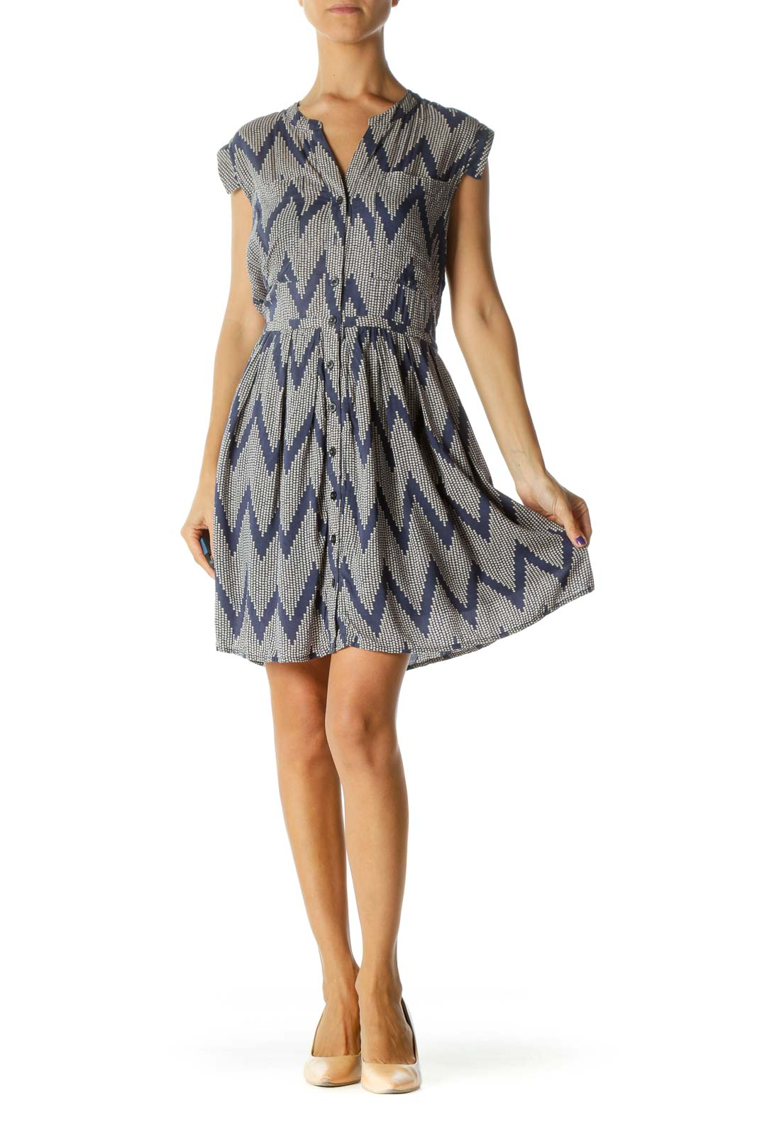 Beige Blue Print Buttoned V-Neck Square Cap Sleeves Dress