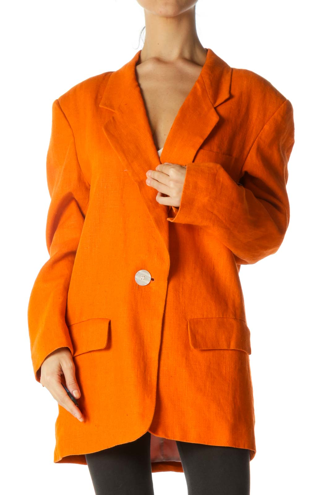 Orange Padded Shoulders Lapel Pocketed Linen