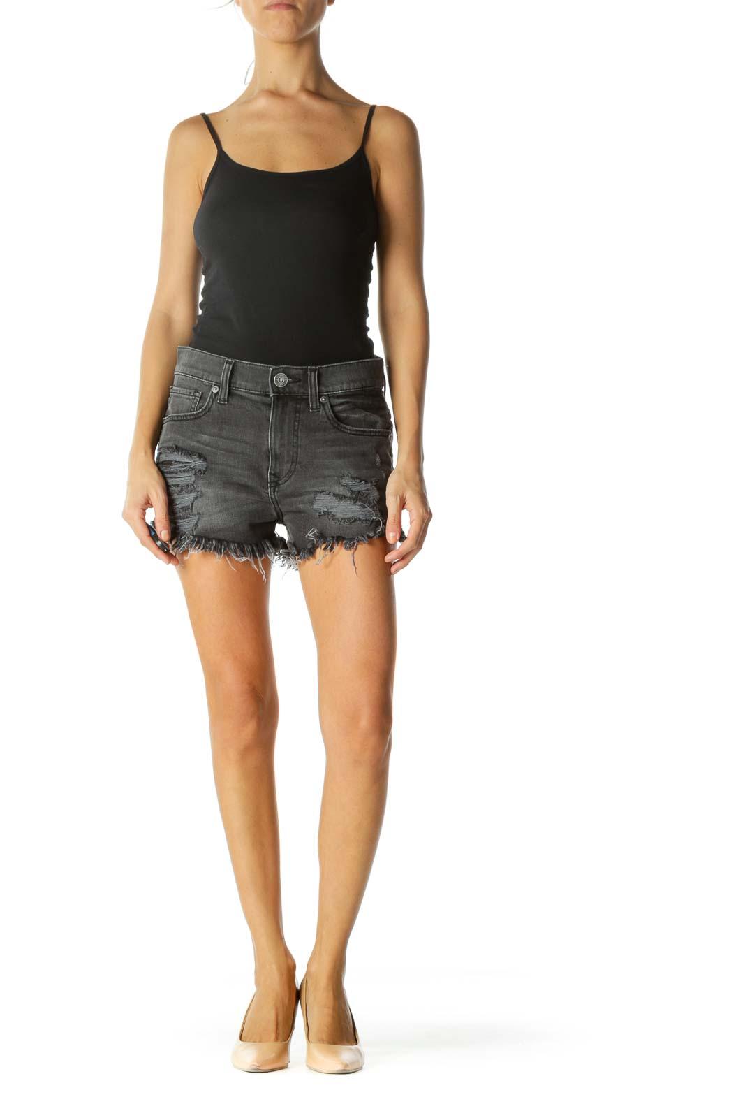 Faded Black Distressed Denim Shorts
