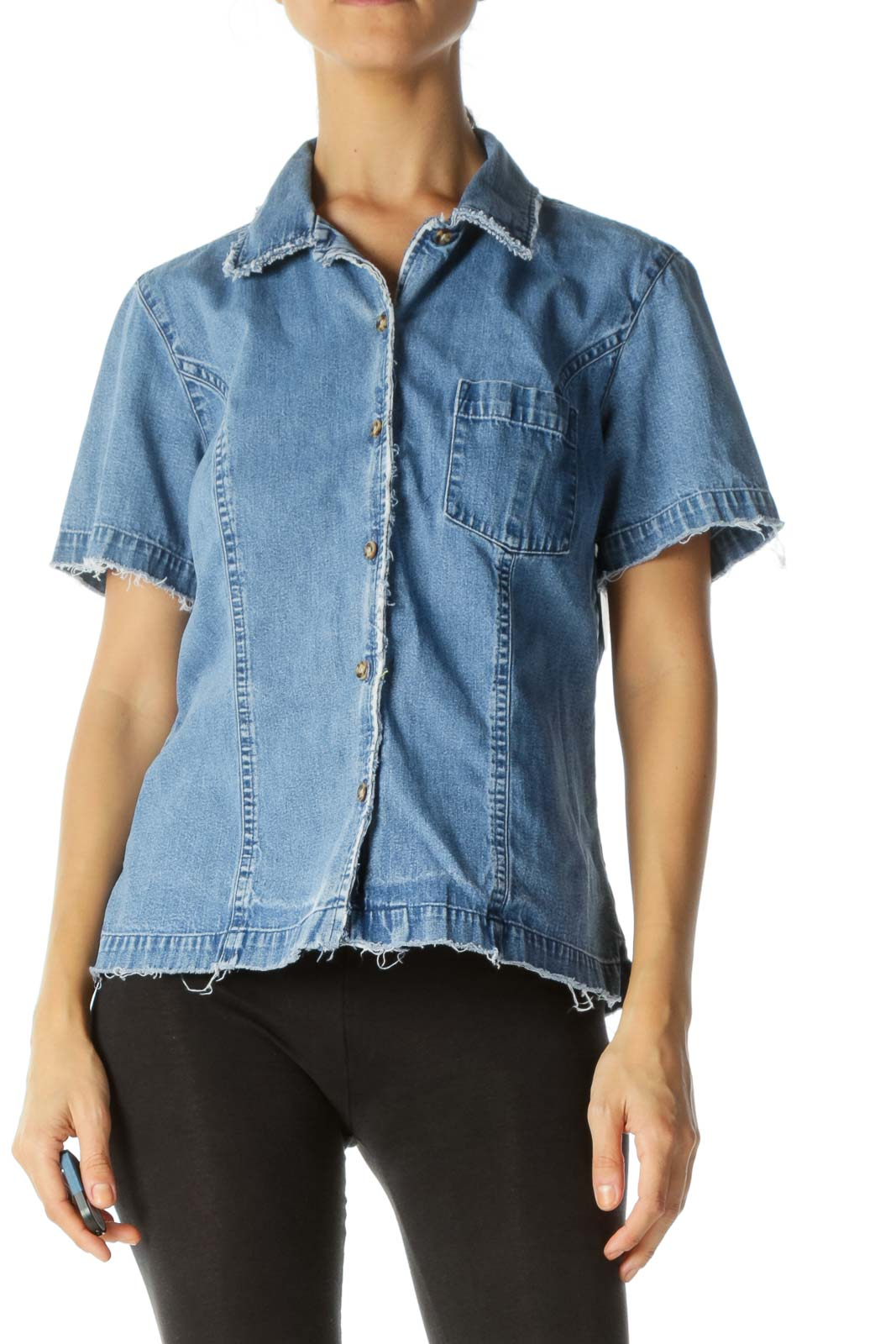 Blue Light Wash Short Sleeve Raw Hem Denim Top
