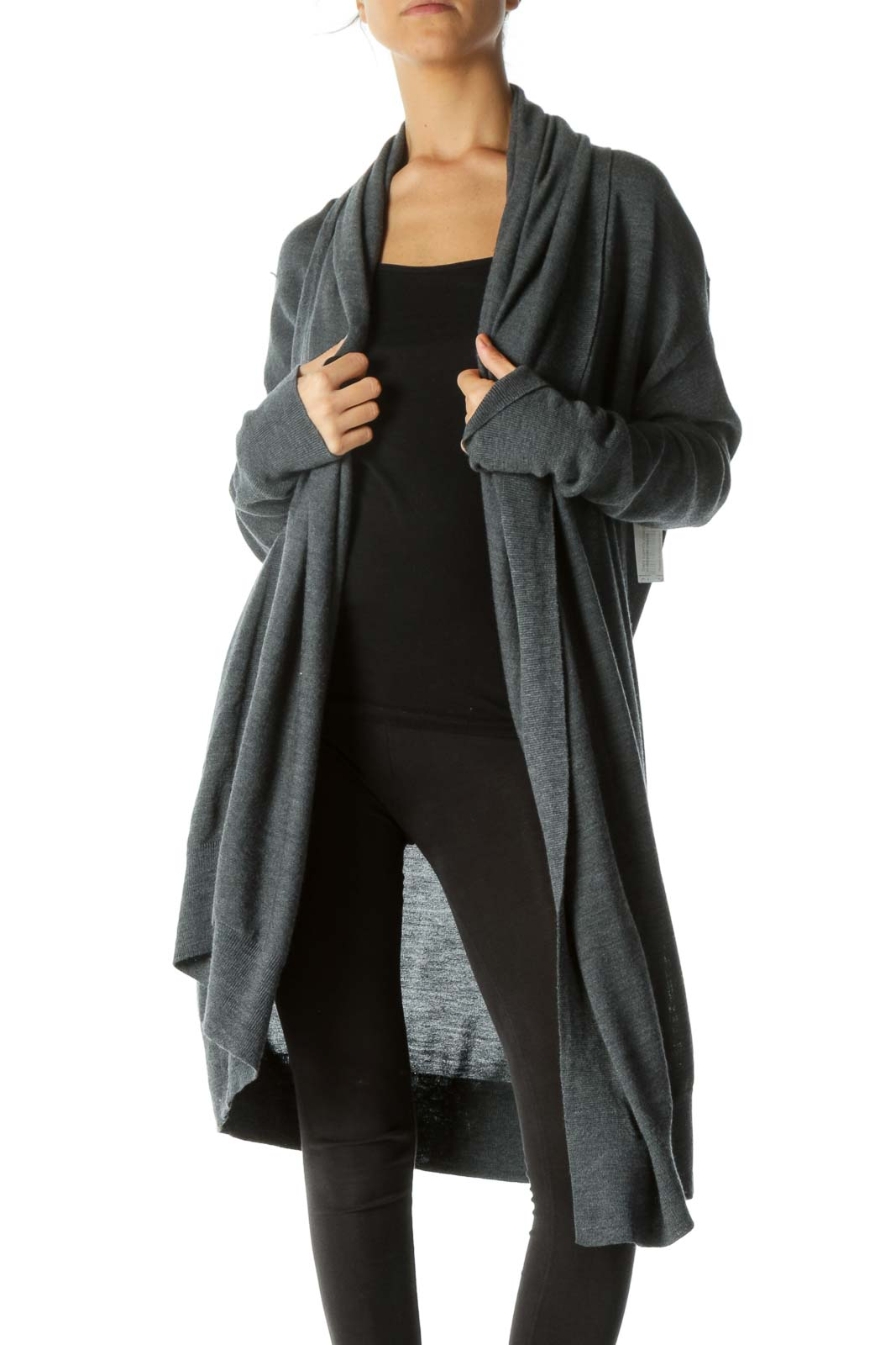 Gray Draped Mid-Length Cardigan