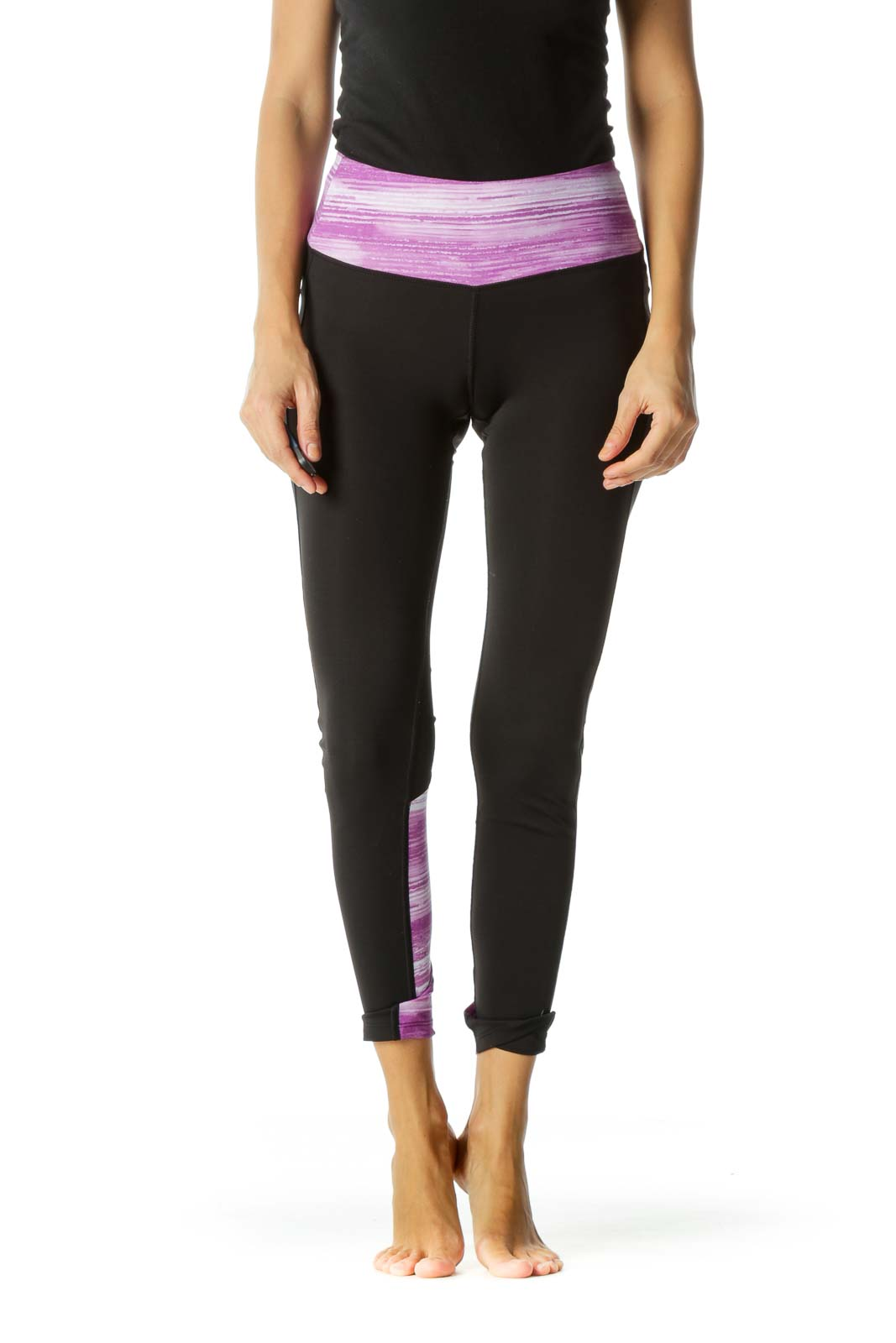 Black White Purple Abstract Print Lower Leg Mesh Detail Active Leggings