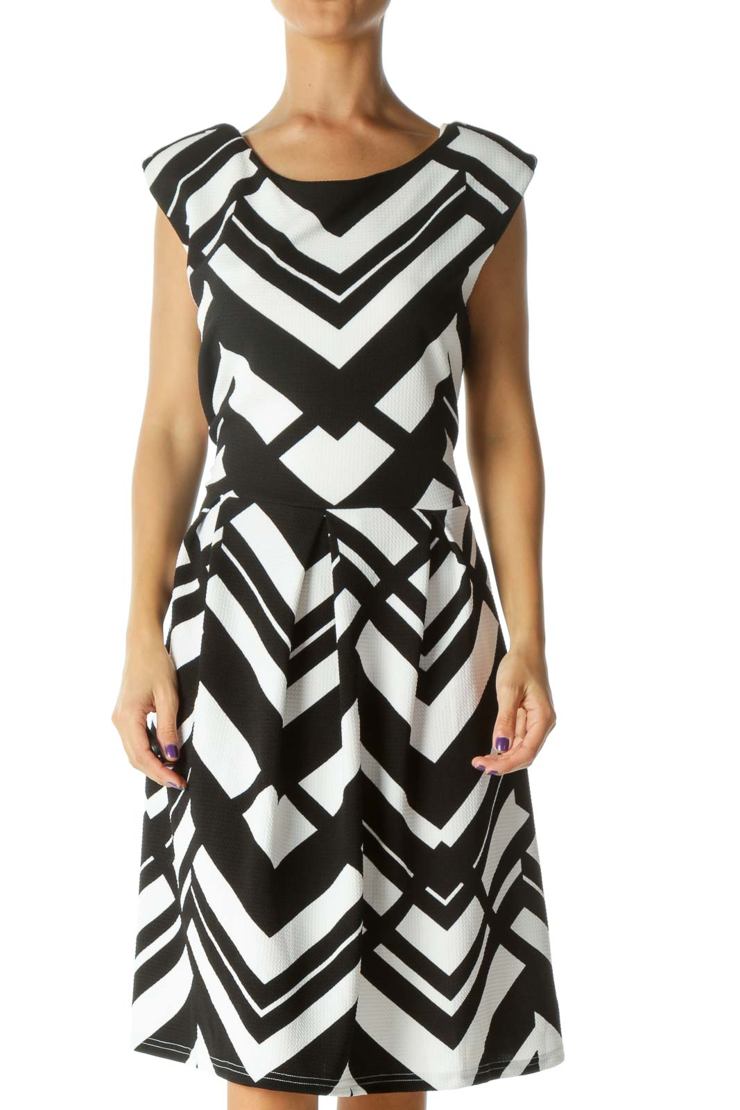 Black&White Pattern Midi Dress