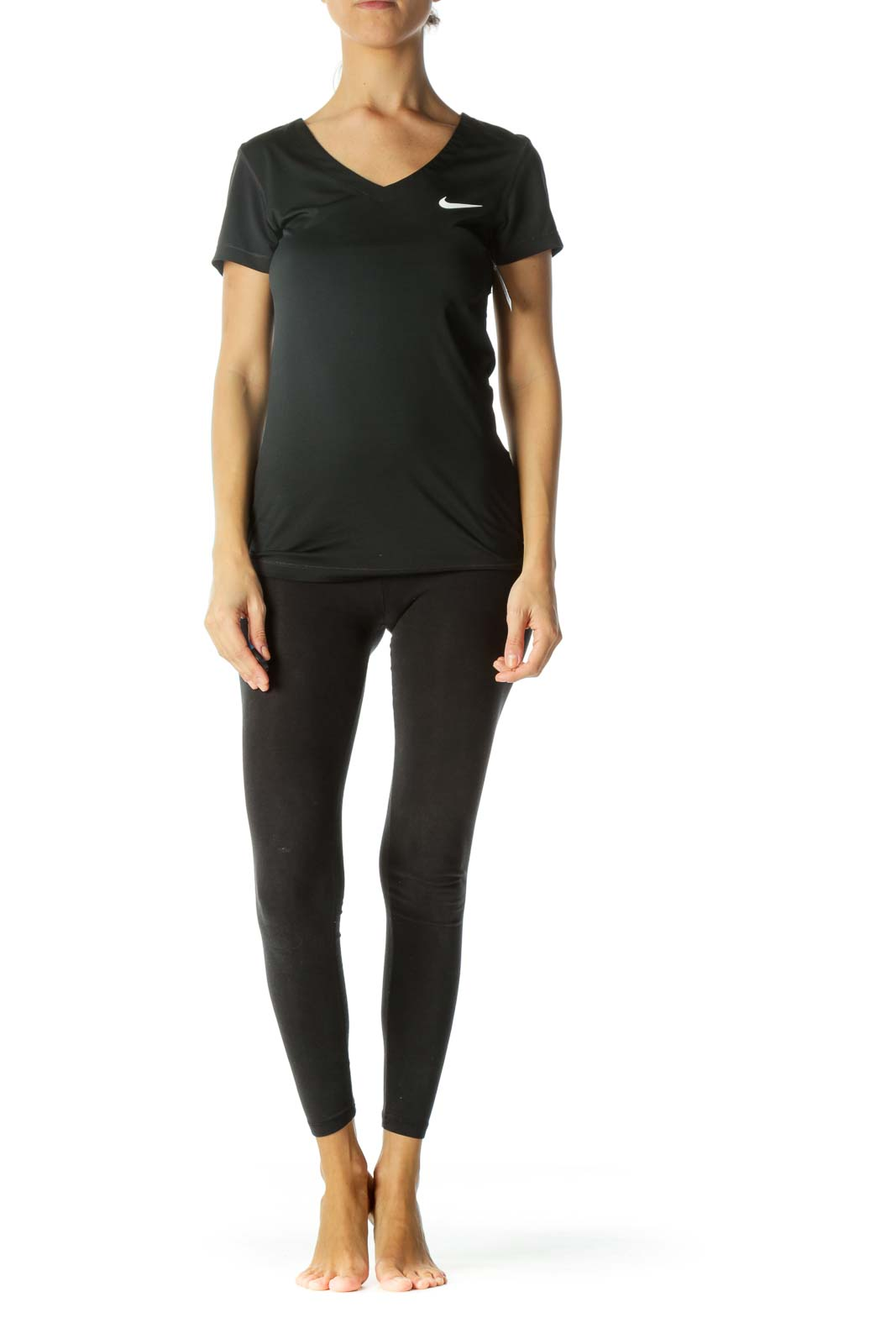 Black V-Neck Short-Sleeve Sports Top with Logo