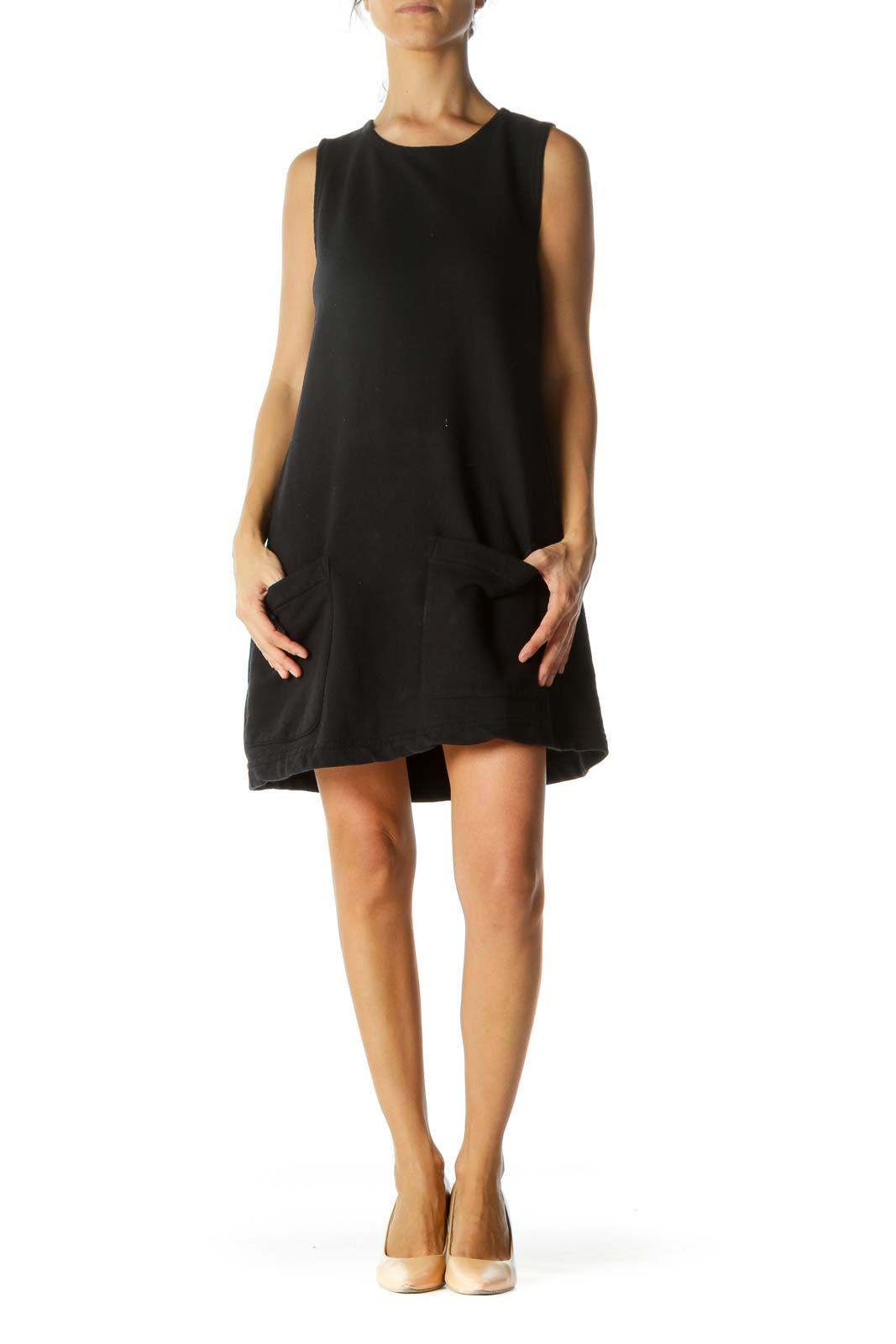 Black Cotton Pocketed Slim Dress