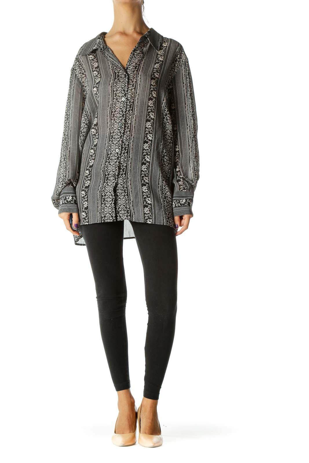 Black White Floral Print Textured Buttoned Shirt