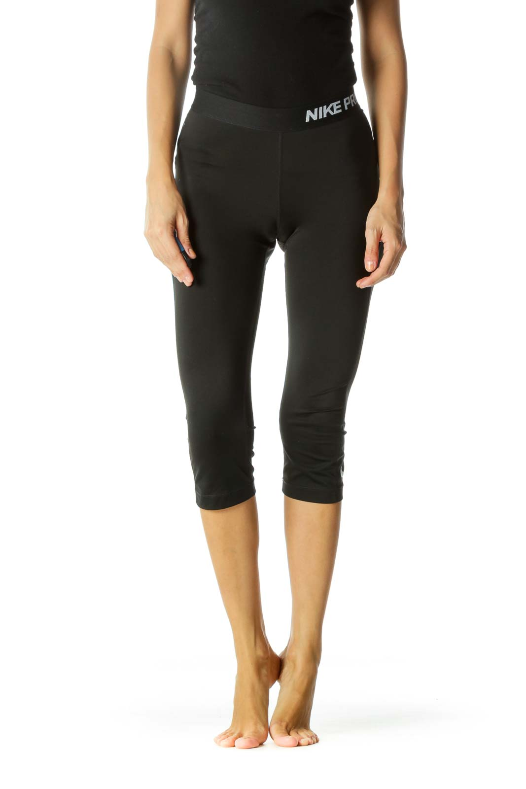 Black White Elastic Band Stretch Cropped Active Pants