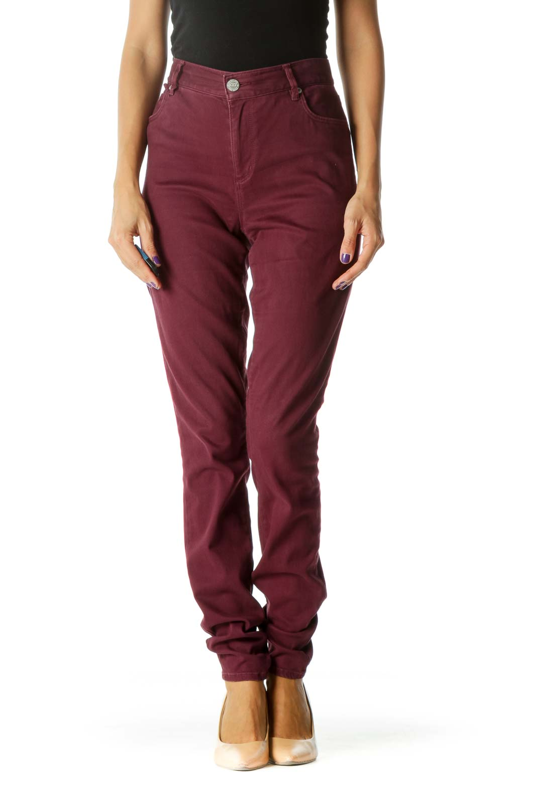 Burgundy Slim Fit Stretch Soft High Rise Leggings