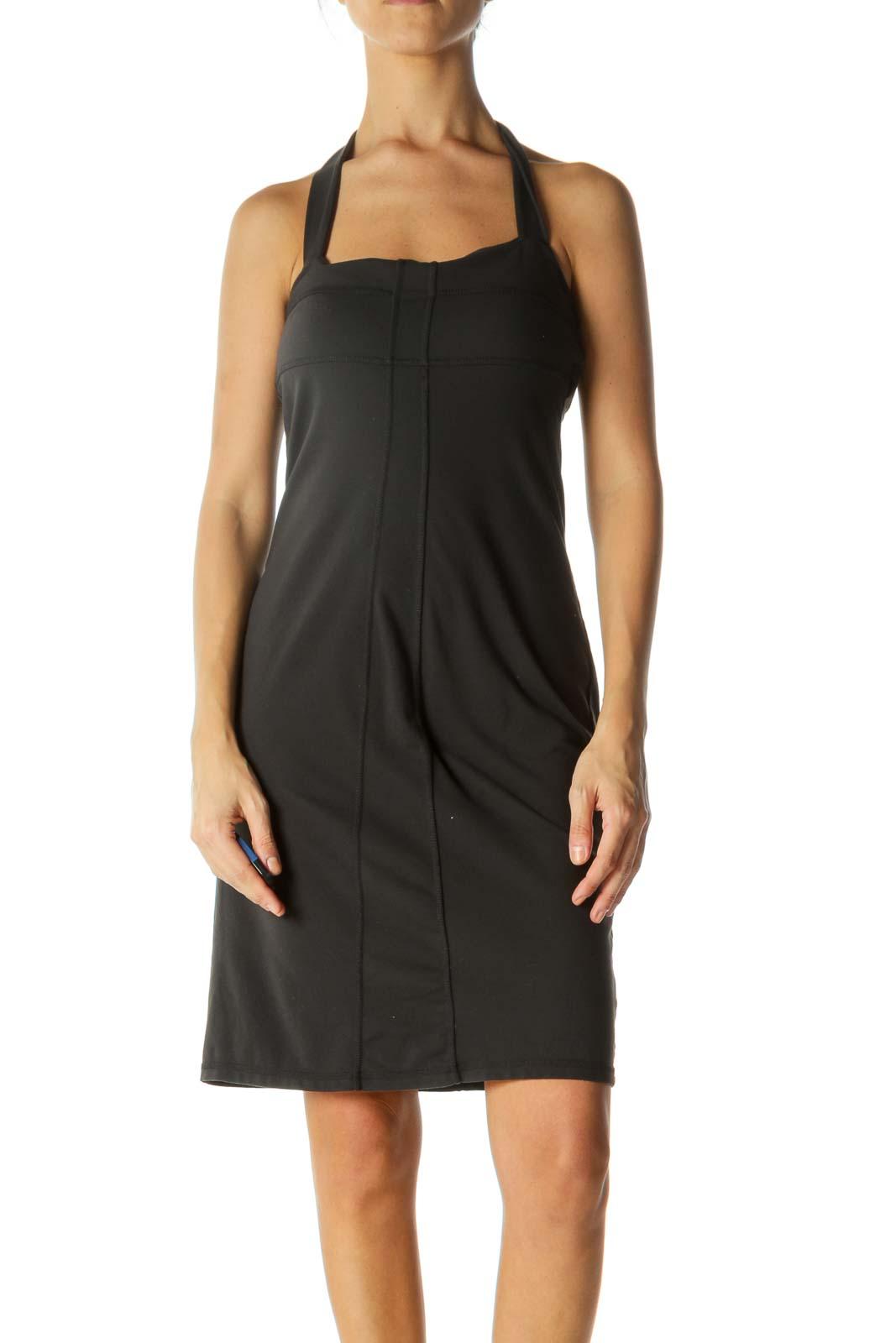Dark Gray Halter Neckline Stretch Built-In Bra Support Active Dress