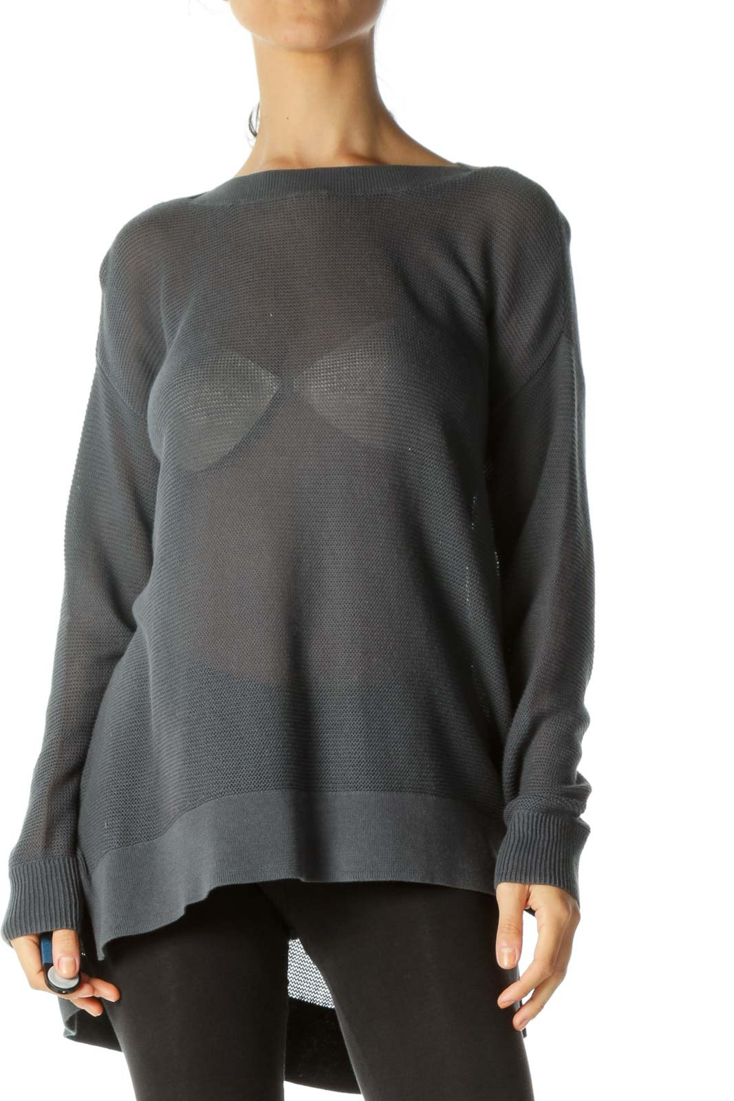 Gray Round Neck Soft See-Through Long Sleeve Knit Top