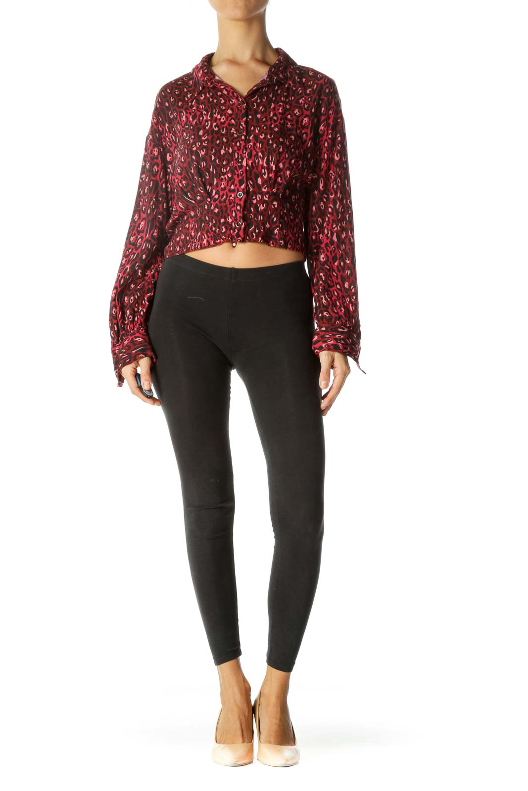 Burgundy Black Animal Print Long Sleeve Buttoned Top