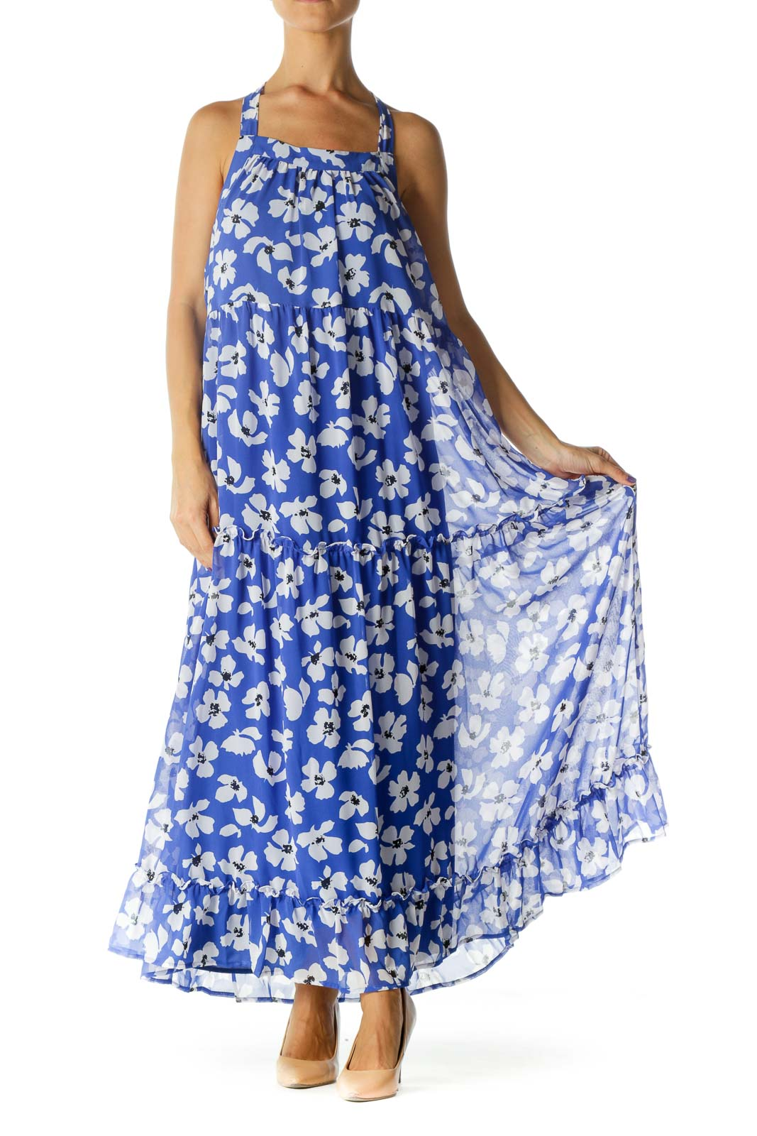 Blue White Black Floral Print Halter Neck Day Dress