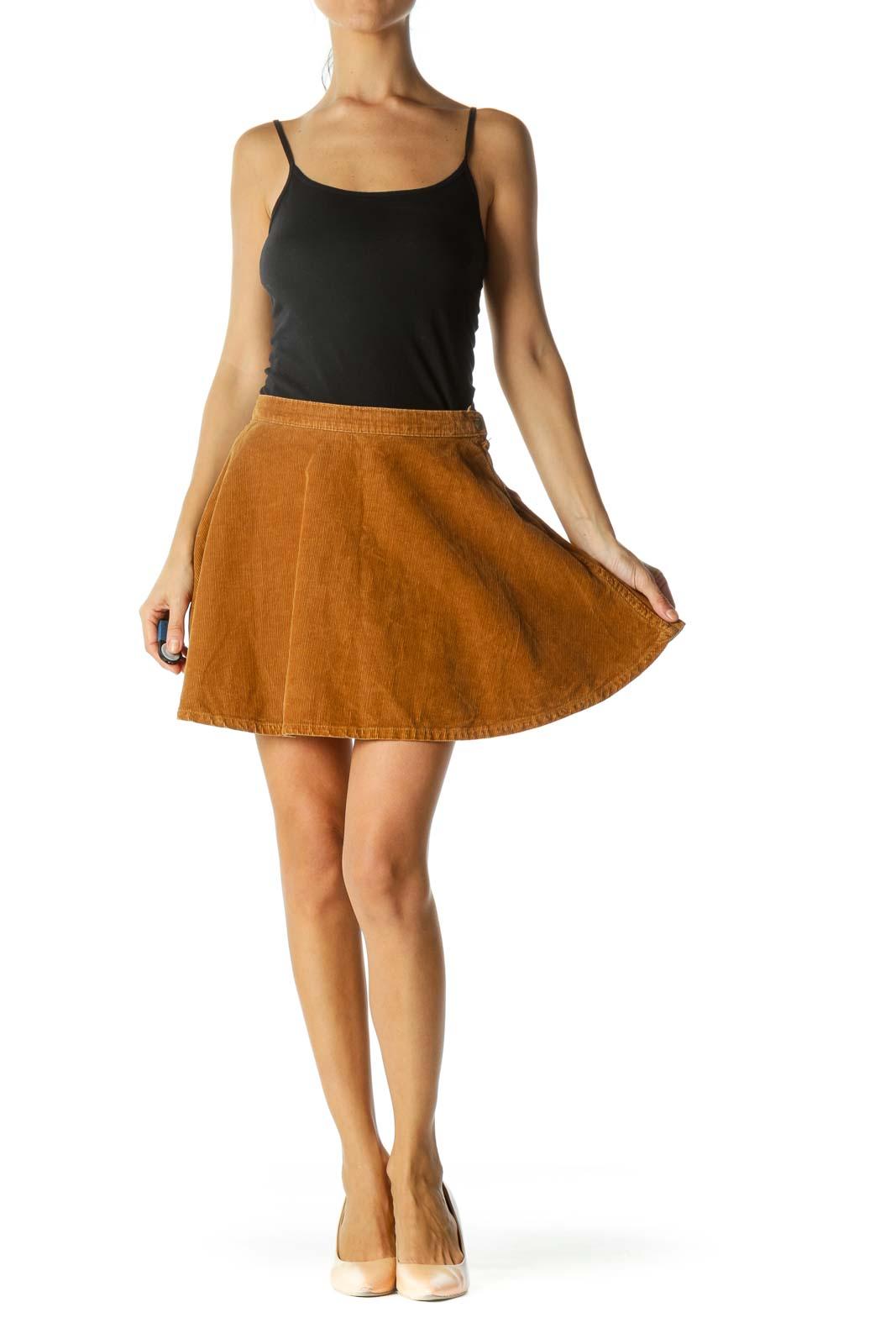 Brown Corduroy 100% Cotton Flared Skirt