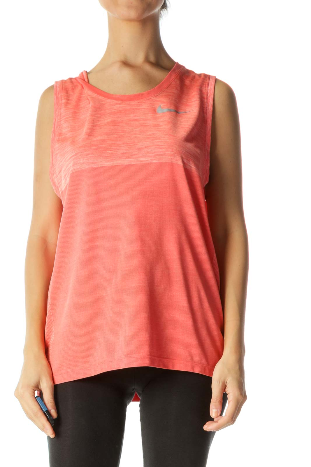 Heathered Orange Thick-Strap Active-Wear Tank