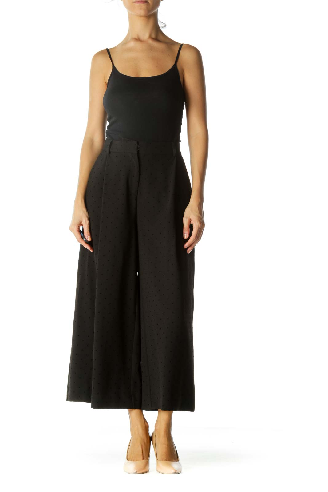 Black Jacquard Pleated Textured Wide Leg Pants
