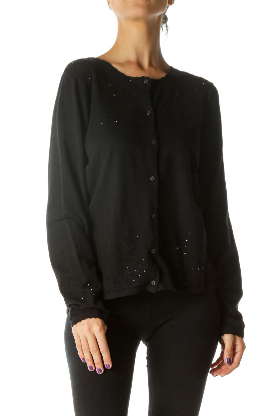 Black Crystal Knit Cardigan