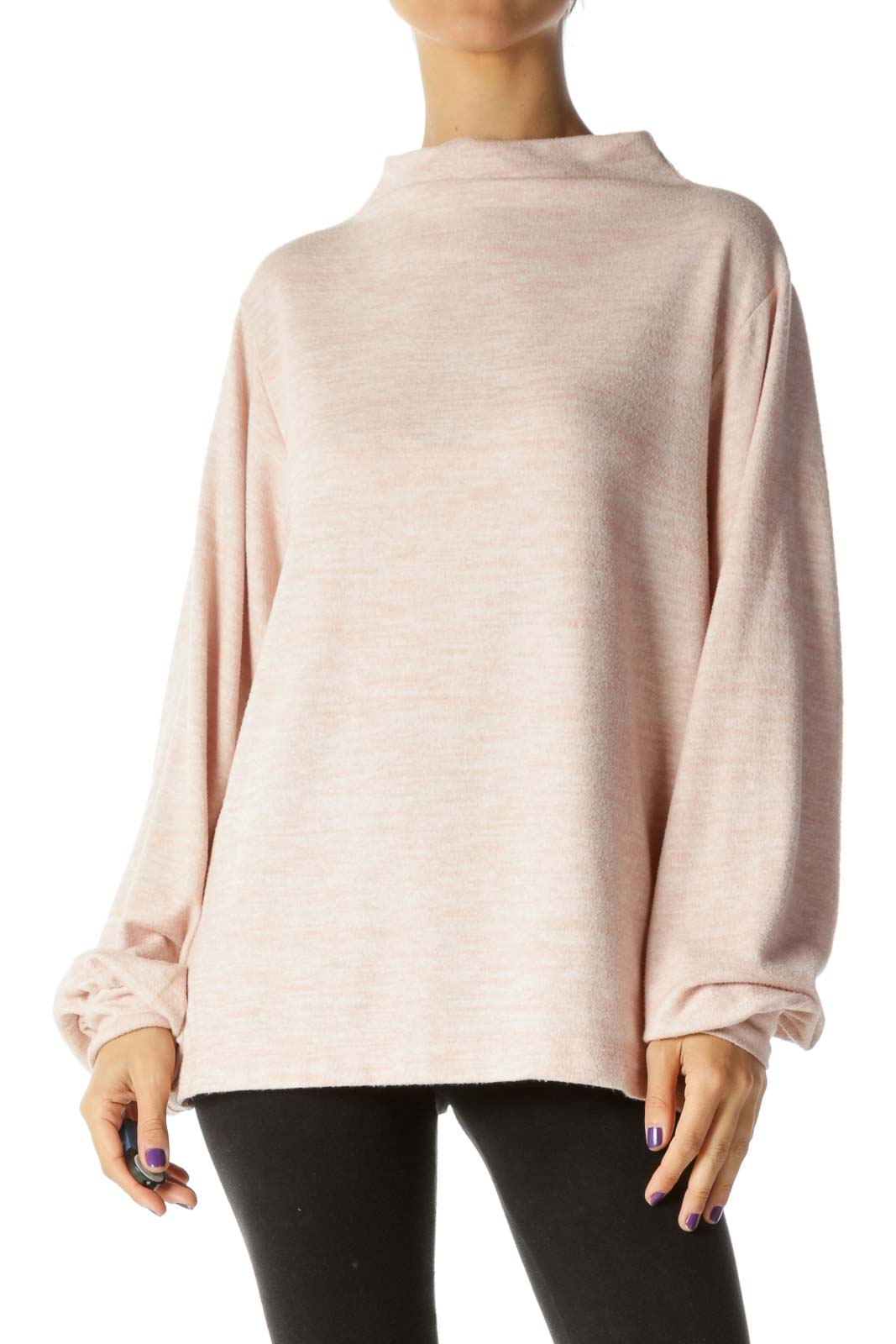Pink Mottled High Neck Banded Sleeves Sweater
