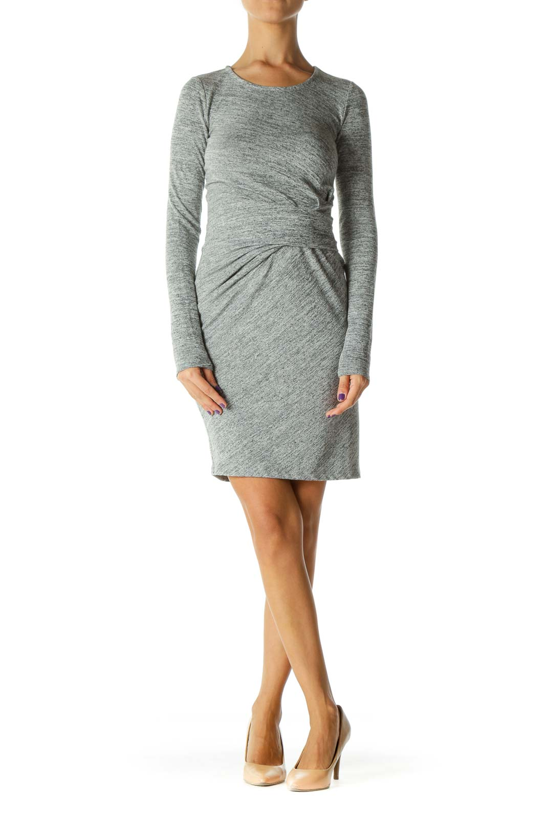 Gray Long Sleeve Knit Dress