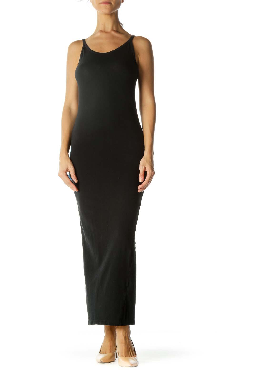 Black Stretch Round Neck Maxi Dress