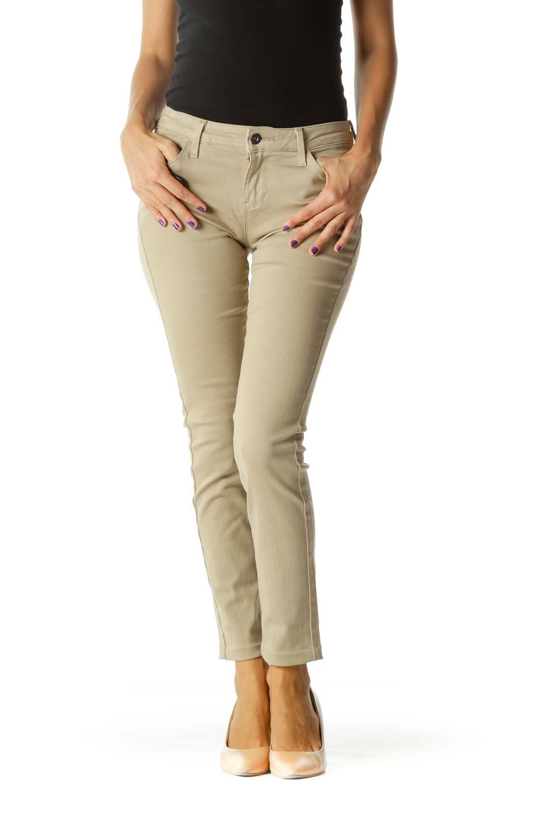 Beige Skinny Stretch Pants (Altered Hem at Ankles)