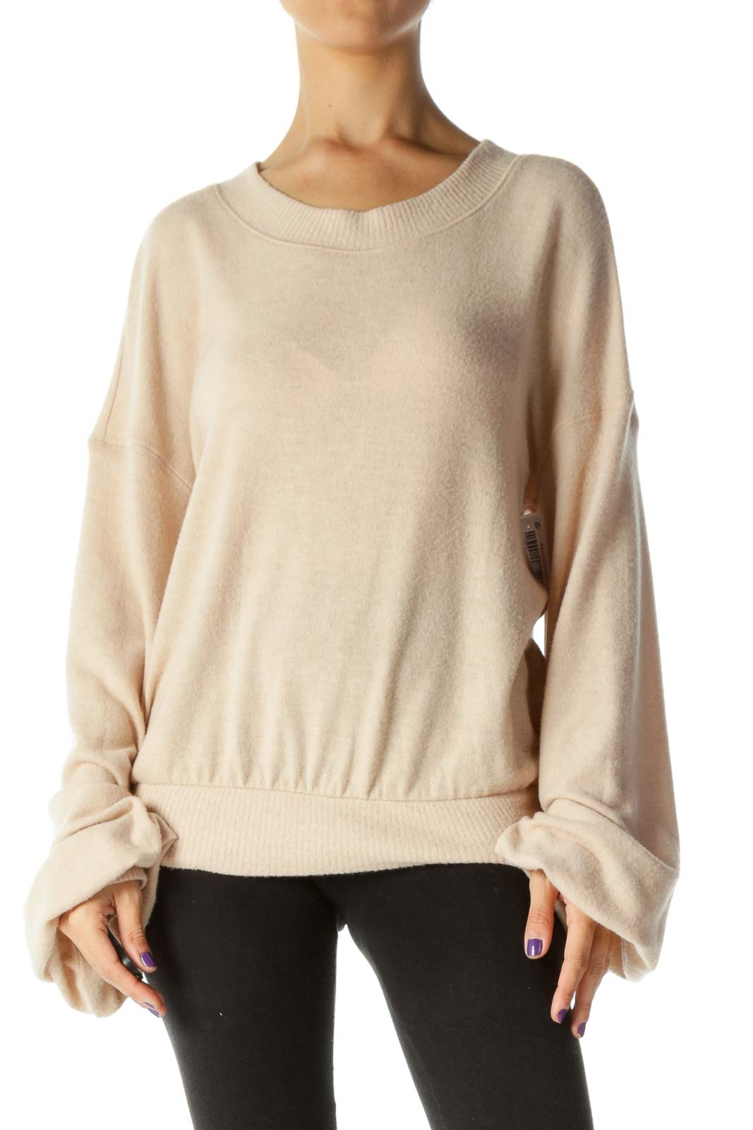 Light Peach Round Neck Super Soft Touch Bishop Sleeves Sweater