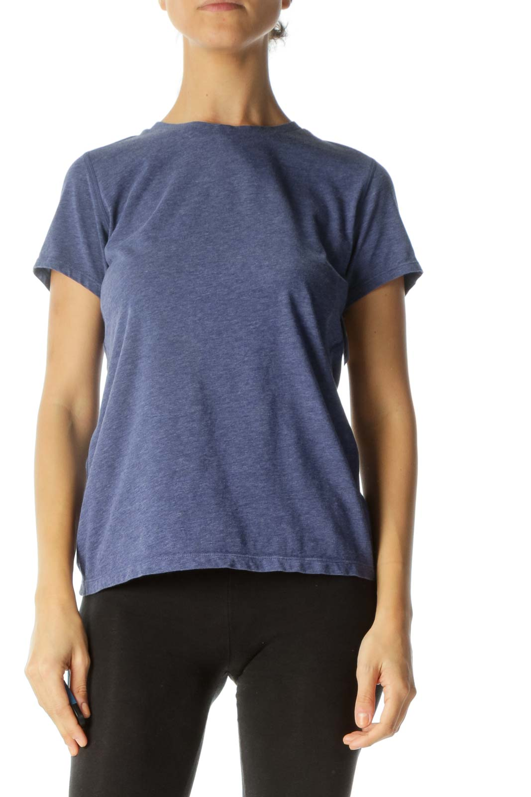 Heathered Navy Short-Sleeve Fitted Active-Wear Top