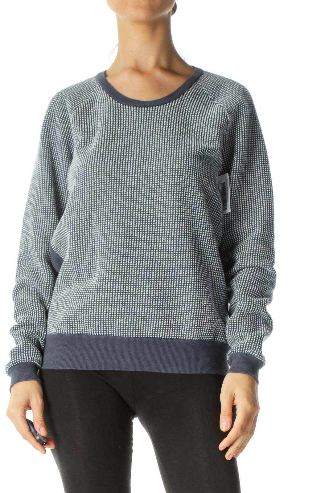 Navy & White Knitted-Print Crew-Neck Sweater