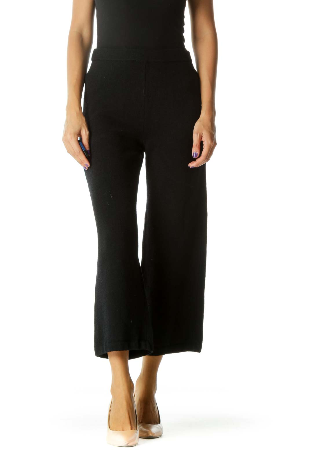 Dark Navy Wide Leg Knit Pant