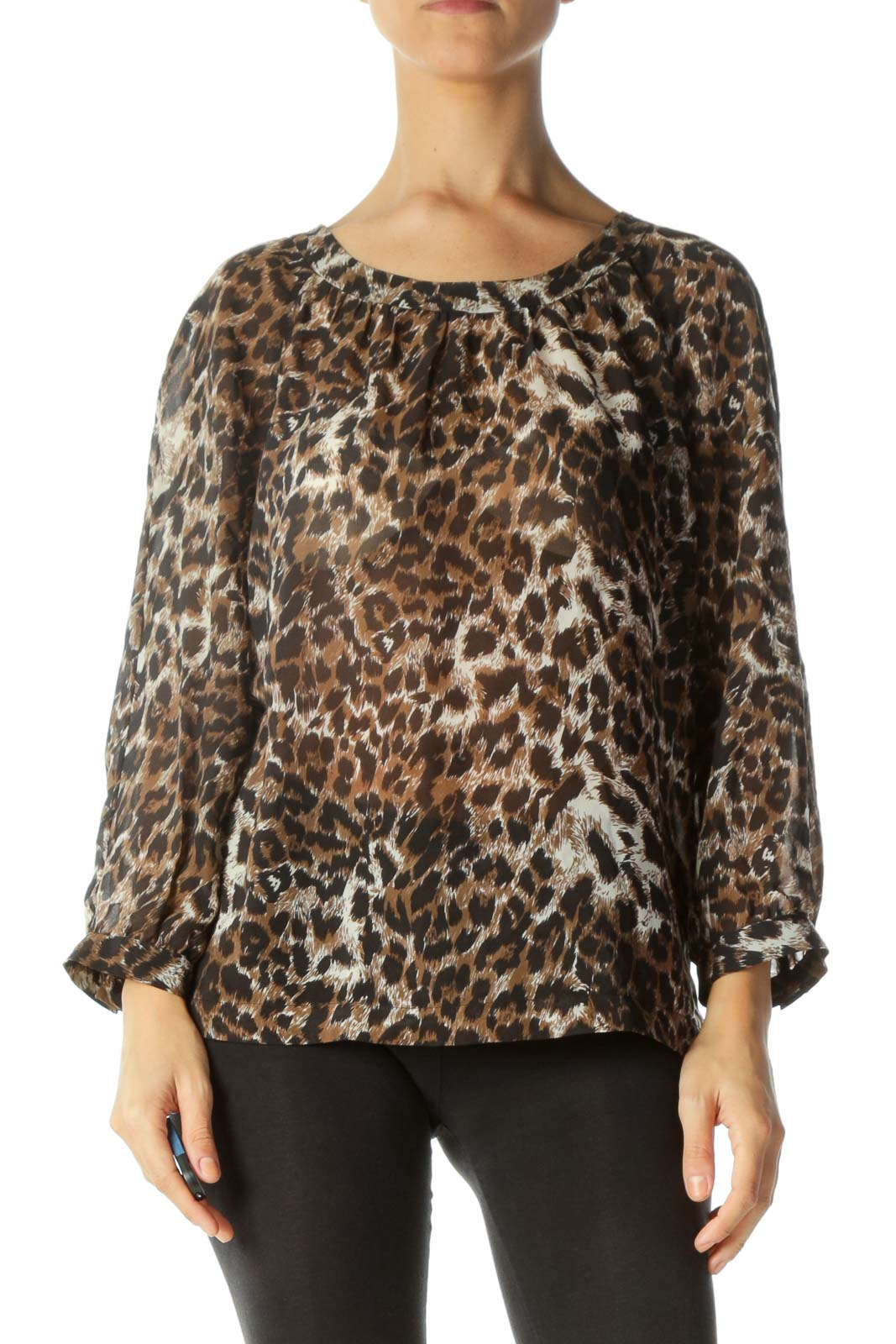 Brown Black Animal Print Open-Back Translucent Blouse