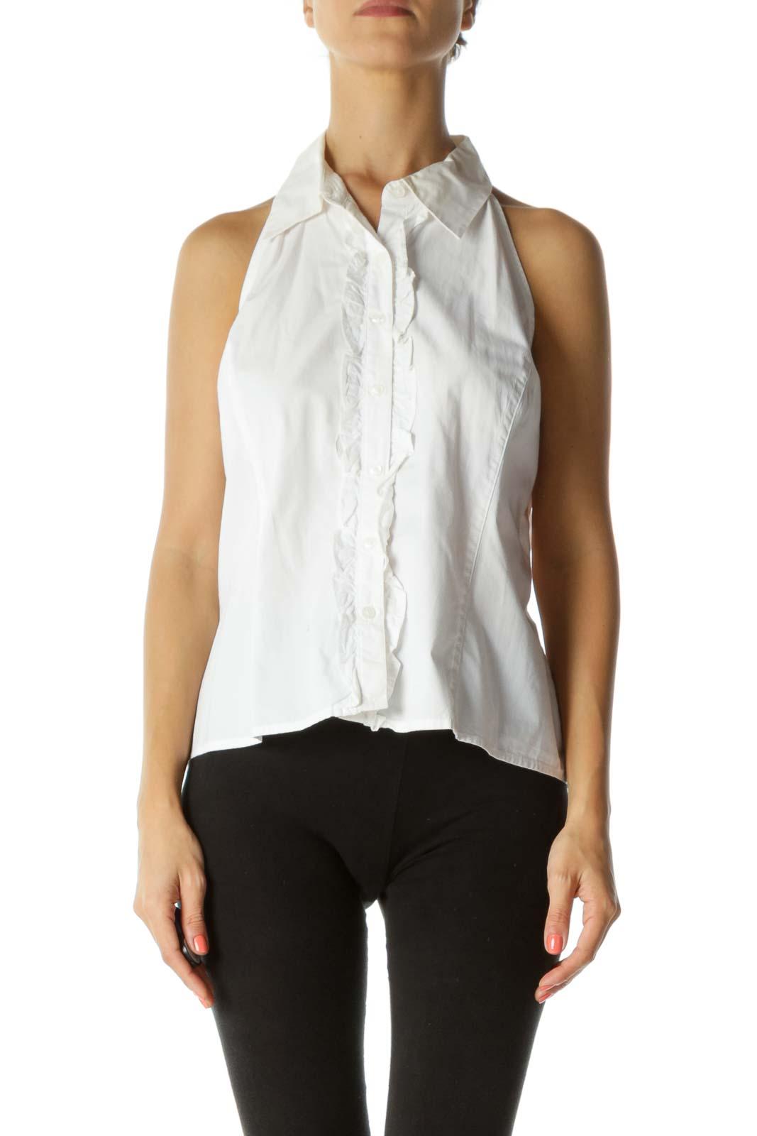 White Sleeveless Buttoned Ruffle Top