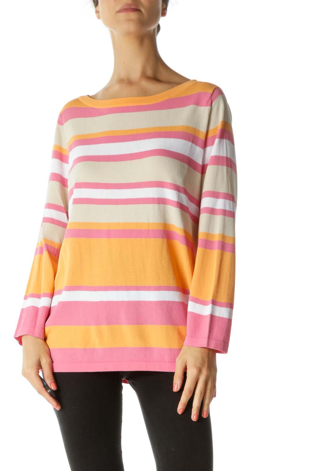 Orange Pink White Elastic Color-Block T-Shirt