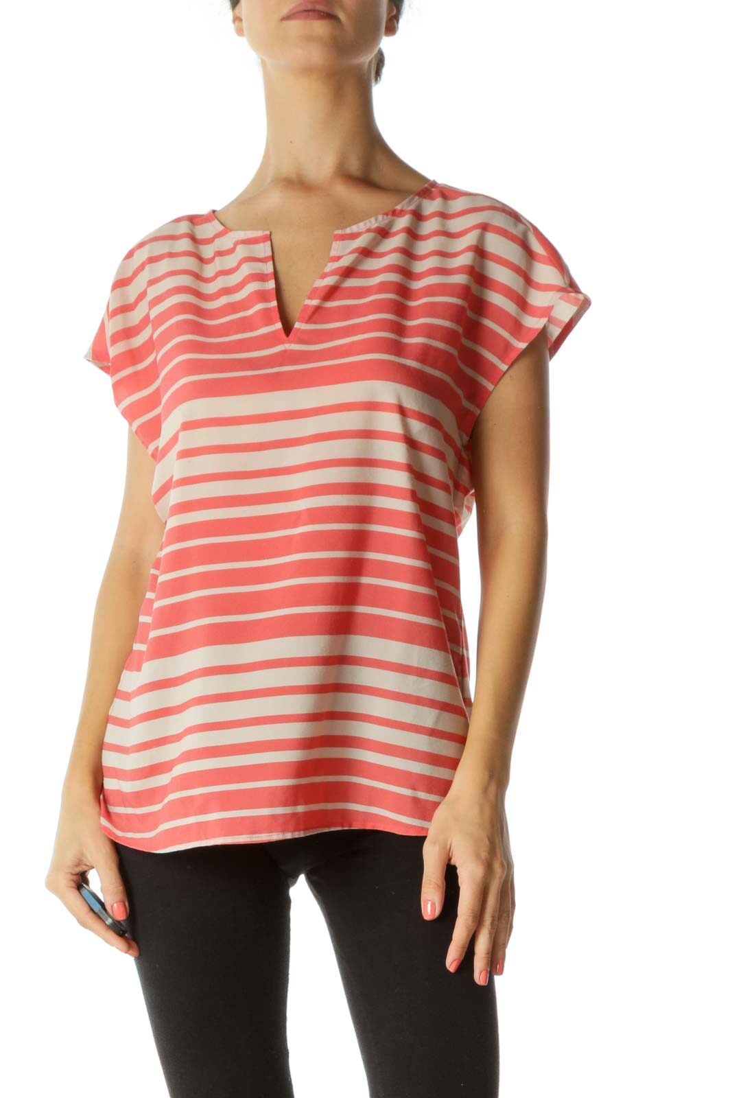 Orange & Brown Striped Blouse