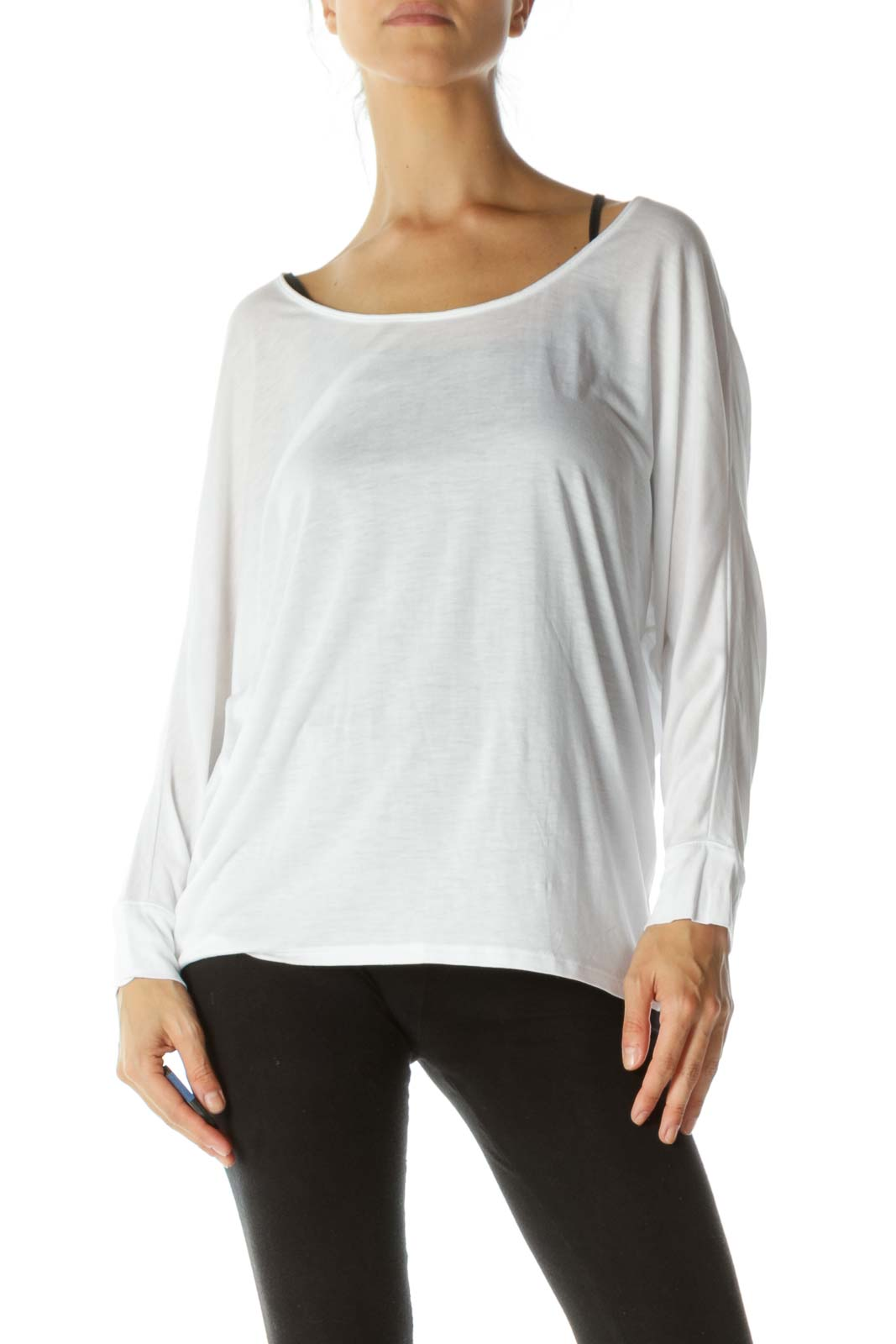 White Loose Long-sleeve T-Shirt