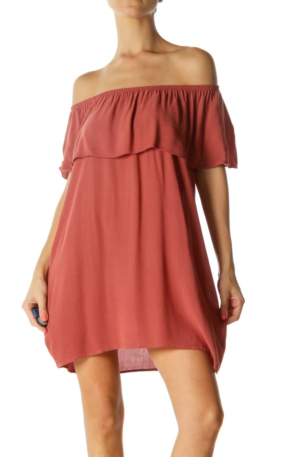 Burnt Orange Off-Shoulder Dress