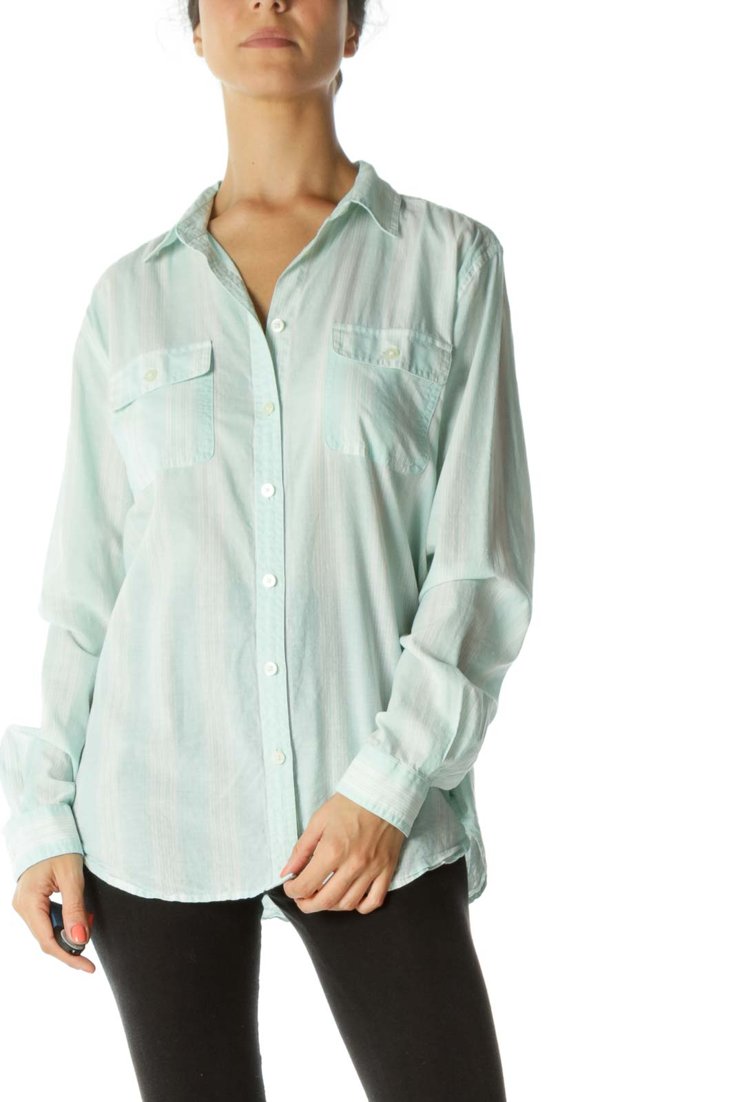 Mint White Striped Sheer Shirt