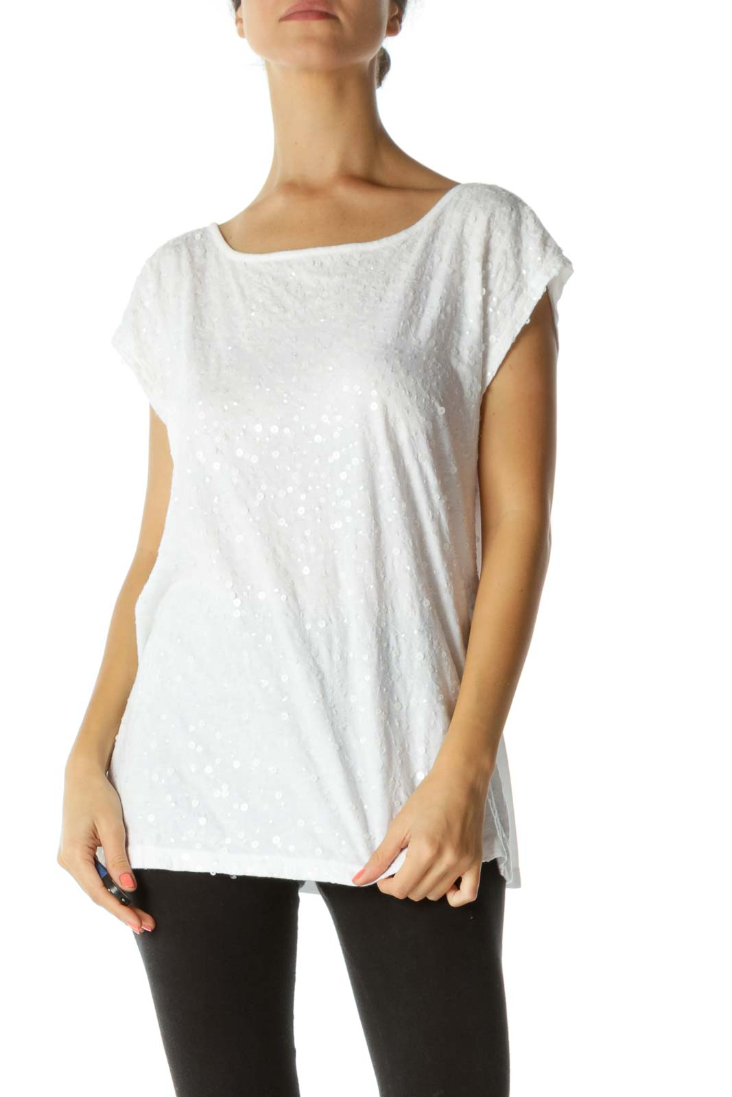 White 100% Cotton Sequined Top