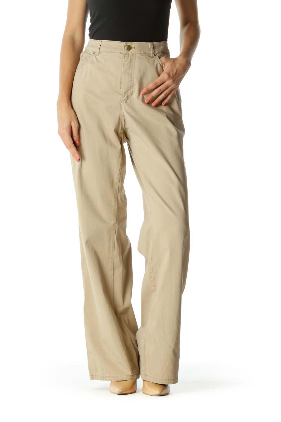 Beige Wide-Leg Khakis