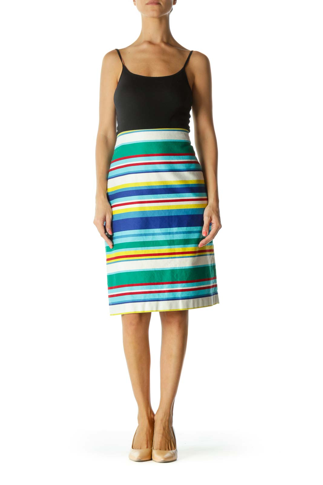 Multicolor 100% Cotton Striped Skirt