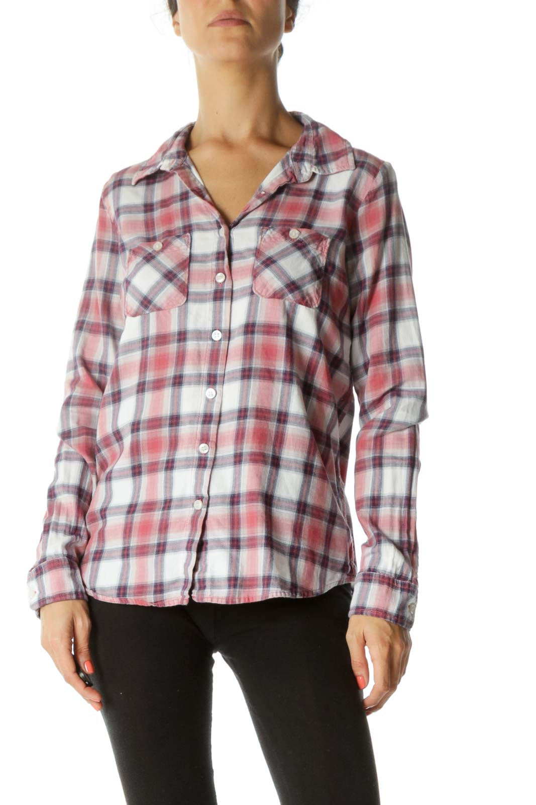 Pink Purple Plaid 100% Cotton Shirt