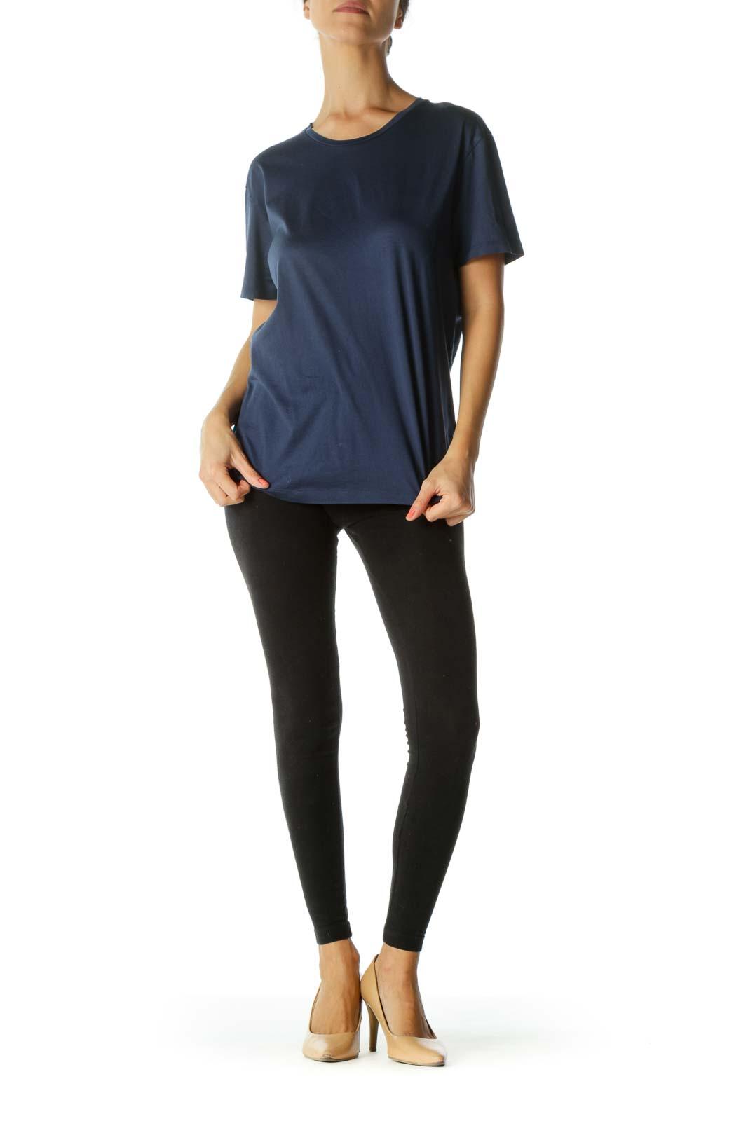 Blue 100% Cotton Round Neck Shiny T-Shirt