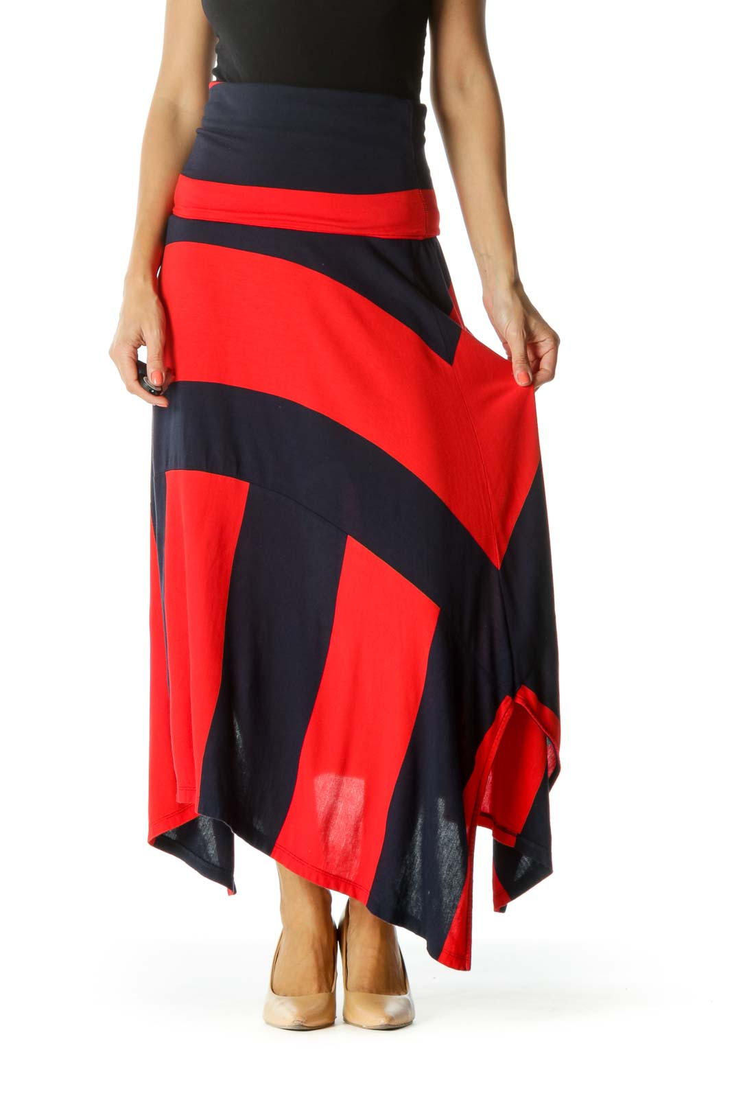 Blue Red Striped Asymmetrical Stretch Skirt