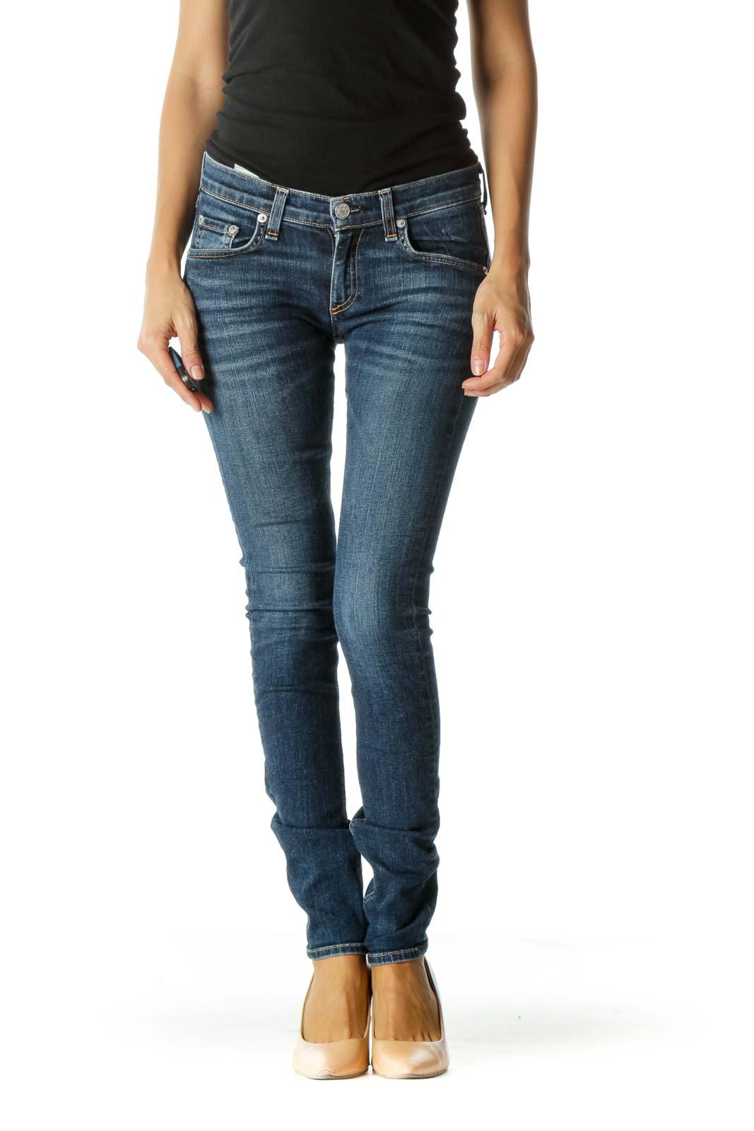Blue Medium Wash Skinny Jeans