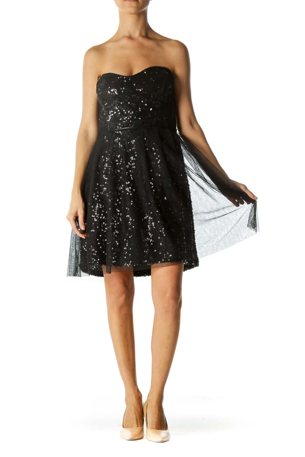 Black Sheer Sequin Tube Cocktail Dress