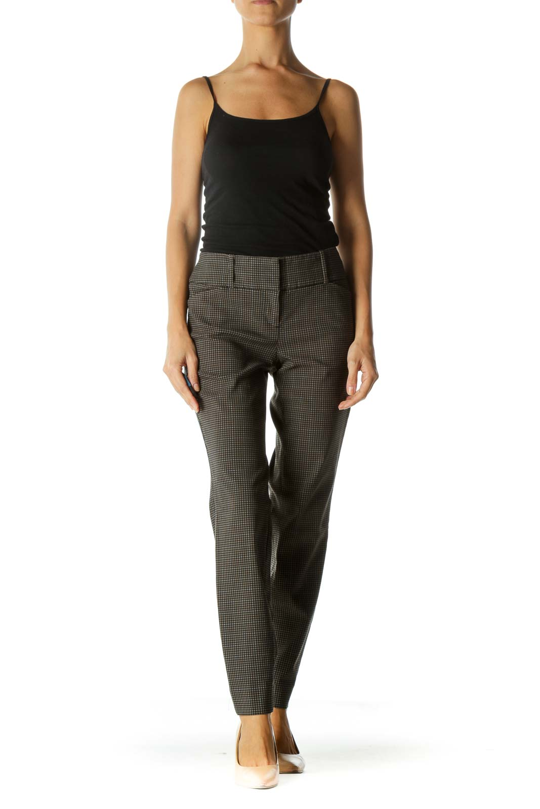 Black and Brown Houndstooth Slim Fit Pant