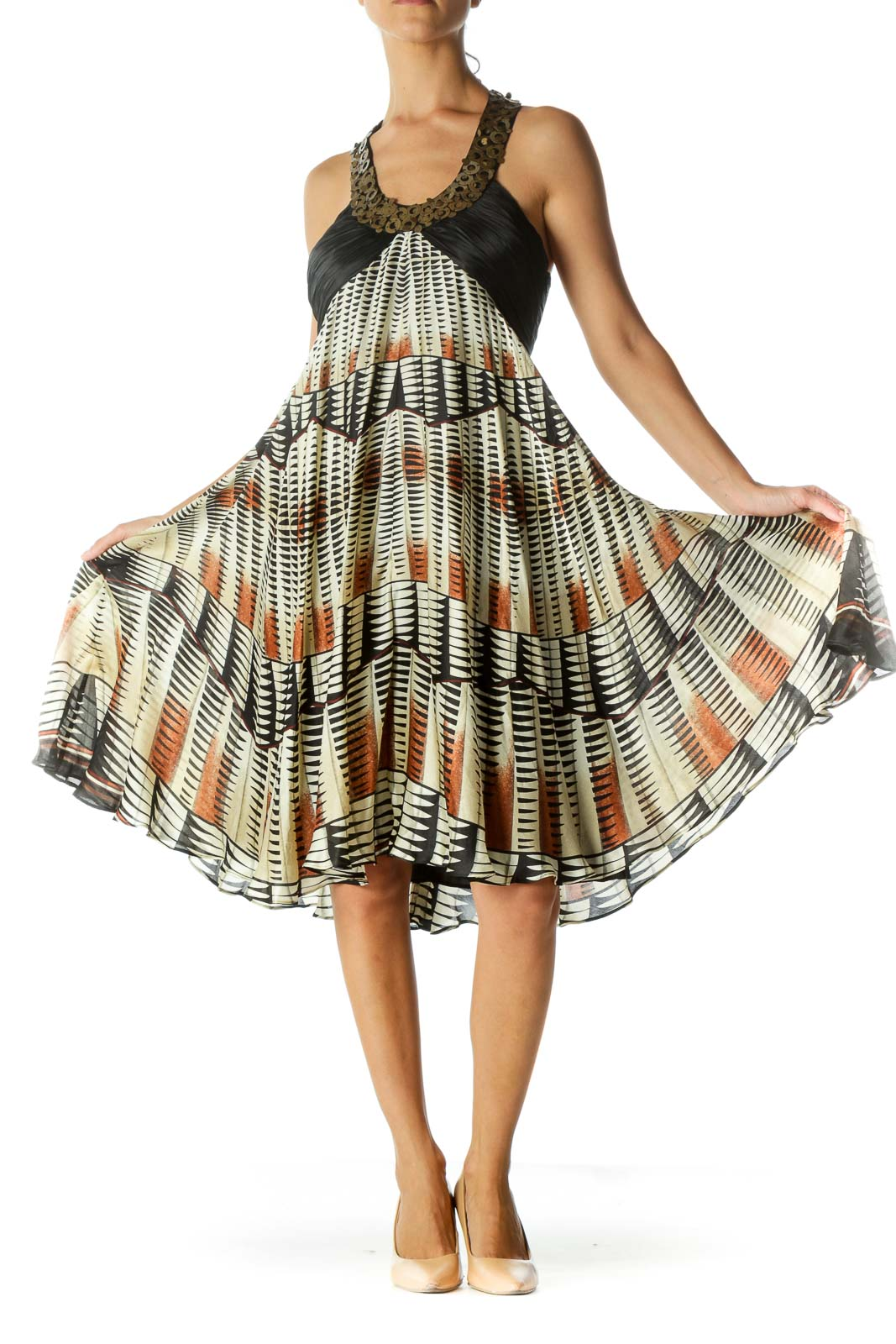 Cream Silk Printed Day Dress