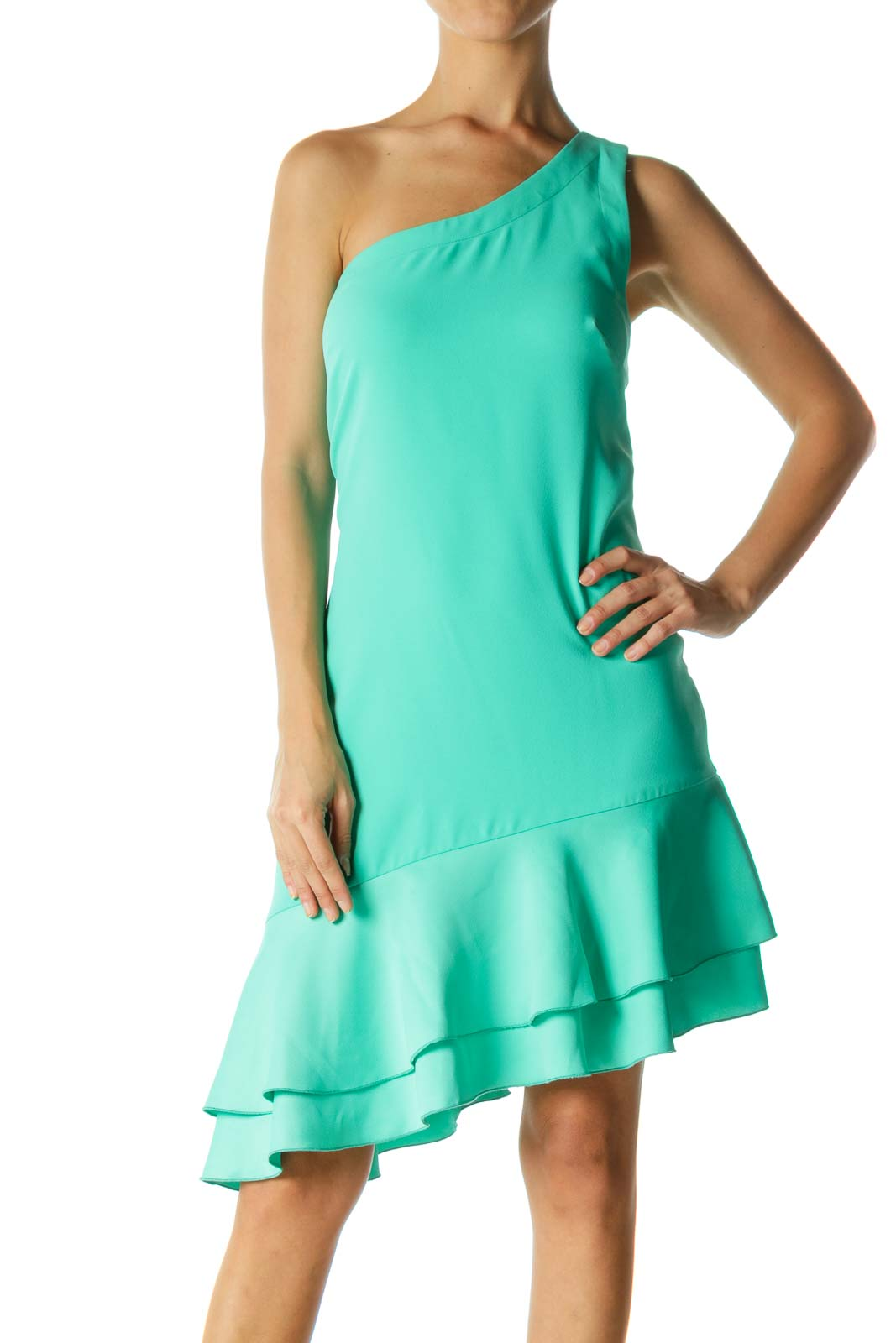 Green One-Shoulder Shift Dress