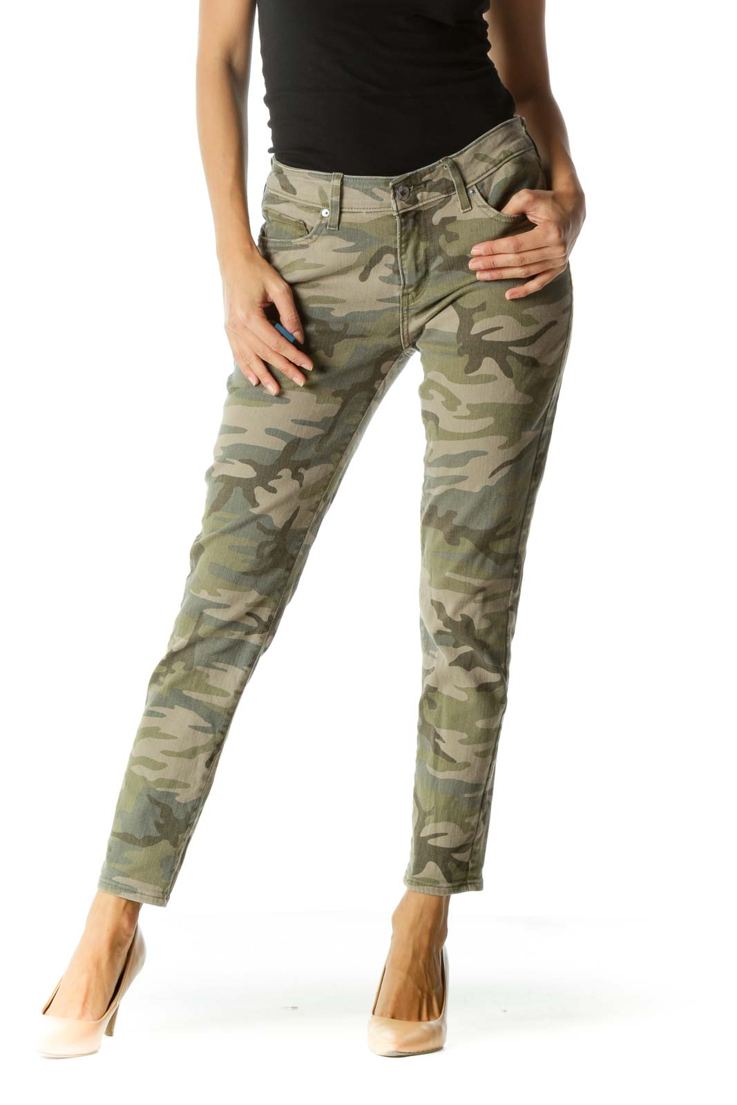 Green Camouflage Print Skinny Jeans