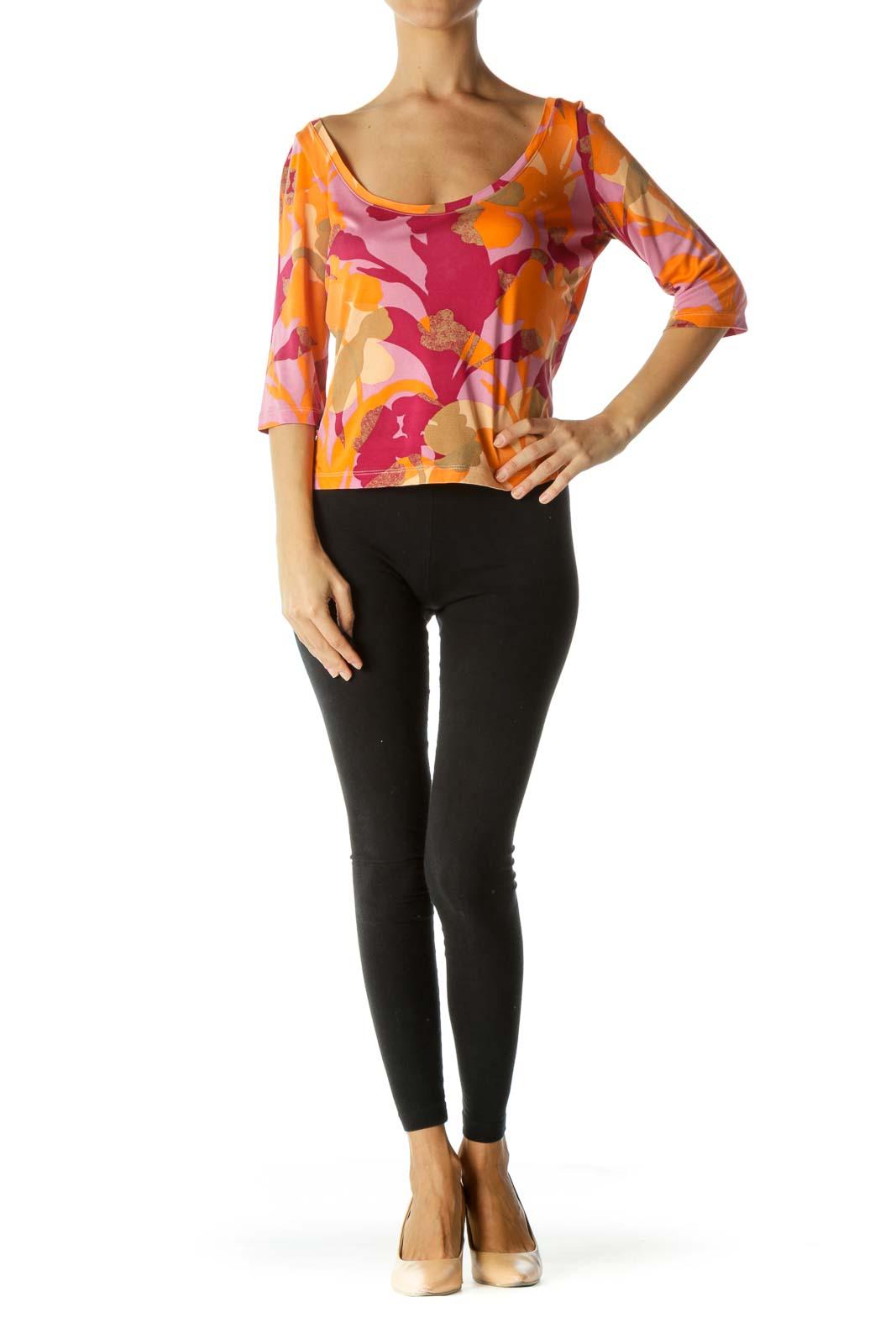 Magenta Orange Beige 100% Silk Round Neck Print Stretch Top