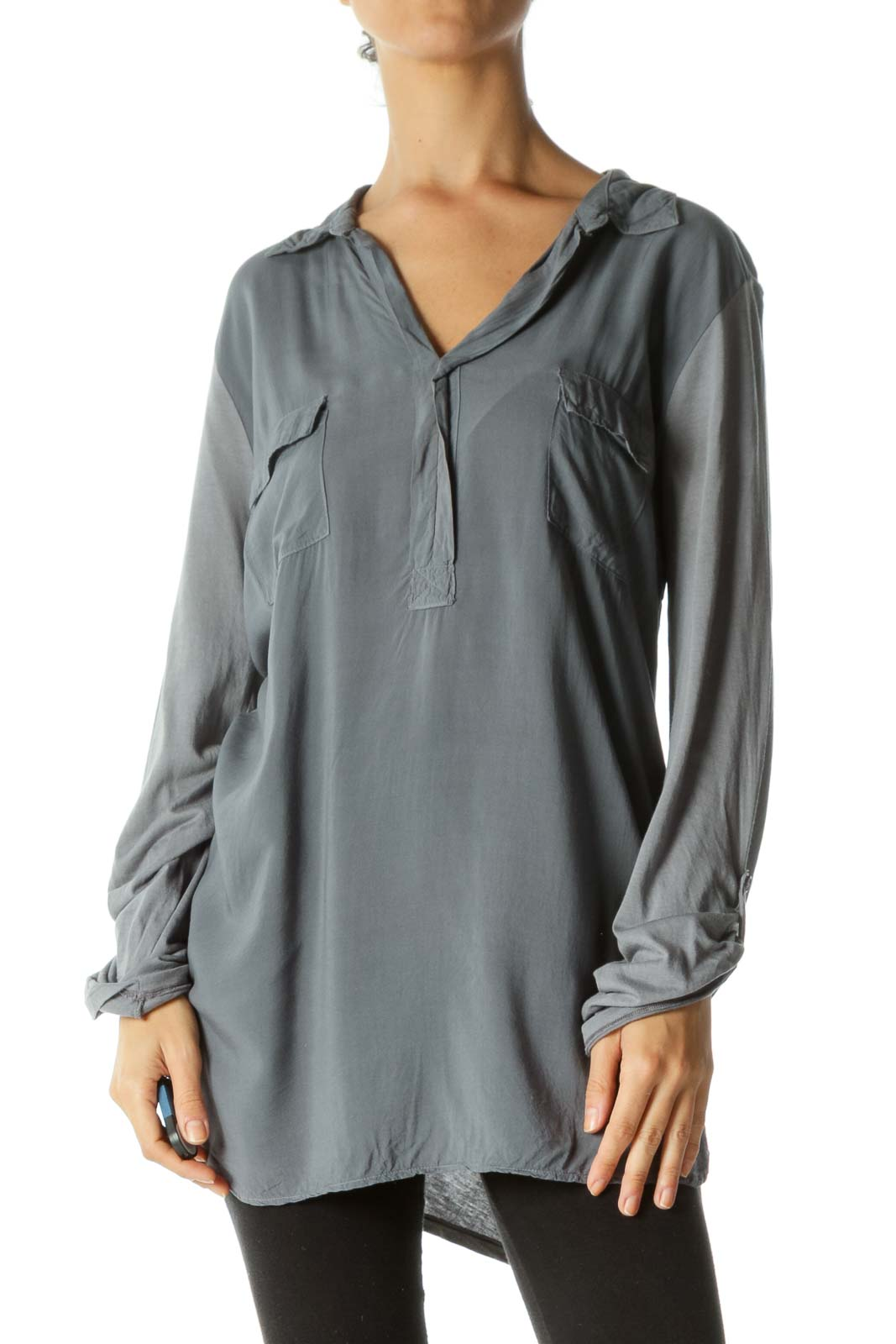 Gray Supima Cotton Blend Pocketed V-Neck Long Sleeve Light Top